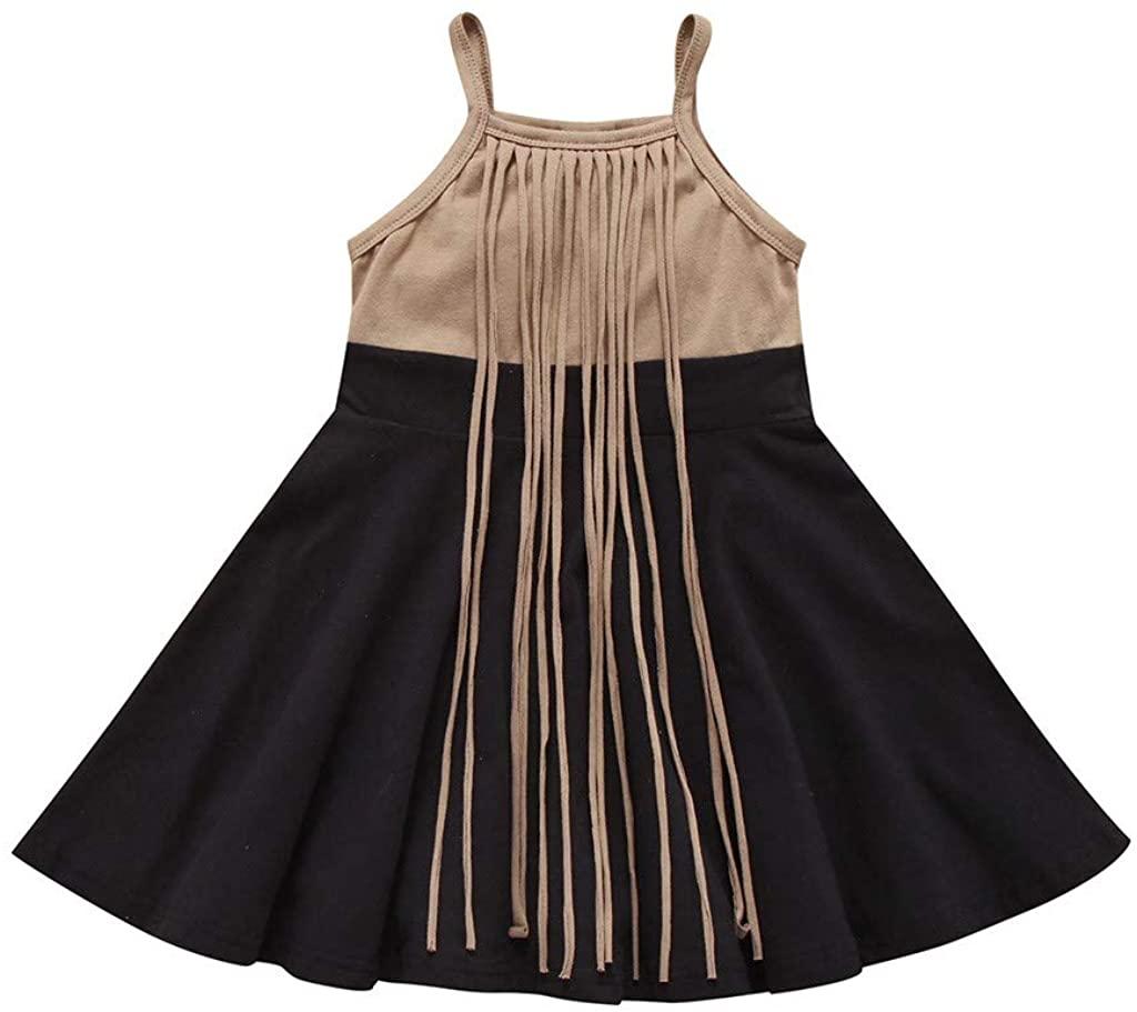 LNGRY Baby Girls Dress,Toddler Newborn Kid Girls Stylish Strap Tassel Sleeveless Patchwork Princess Dresses Sundress