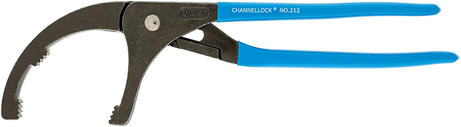 Channellock 212 4-1/4-Inch Jaw Capacity Plier for Oil Filters PVC and Sink Strainers