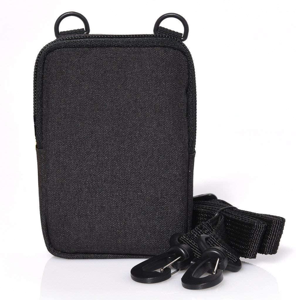 Zink Soft Camera Case – Small Instant Print Camera & Printer Bag w/Photo Paper Pocket, Zipper Closure & Crossbody Shoulder Strap - Black