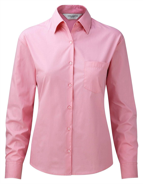 Russell Collection Women's Long Sleeve 100% Cotton poplin Shirt