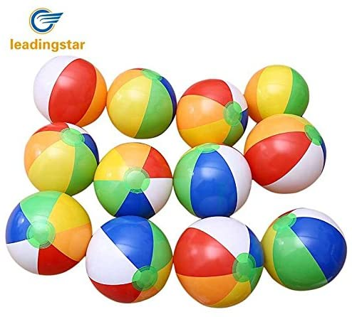 redcolourful 12 PCs Inflatable 6-Color Traditional Beach Balls Pool Party Toys Birthday Favors