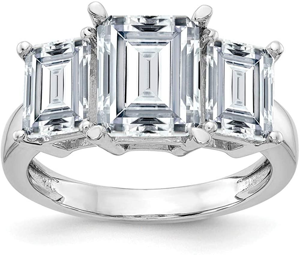 14K White Gold Emerald-cut Three Stone Engagement Ring Moissanite (10.1 cttw.)