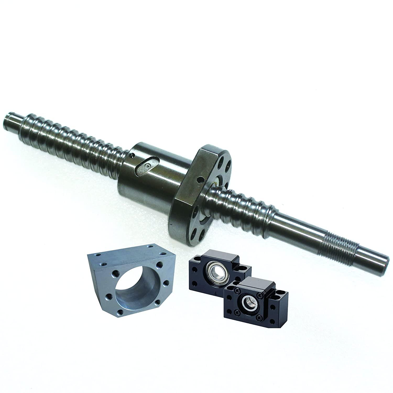 SFU1605 400mm Ballscrew kit + Set BK/BF12 Kit + 1605 Ballscrew RM1605 L400mm Ball Screw with Ball Nuts + Screw Nut Housing for CNC Machine