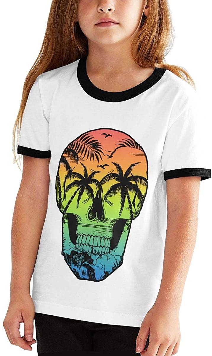 colory Beach Scene Skull Teenager Junior Boys Girl's Youth Short Sleeve T Shirt Tee Contrast Shirts
