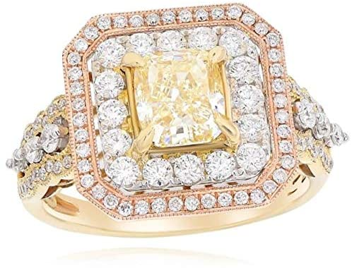 LARGE 2.61CT WHITE & FANCY YELLOW DIAMOND 14KT TRI COLOR GOLD 3D ENGAGEMENT RING