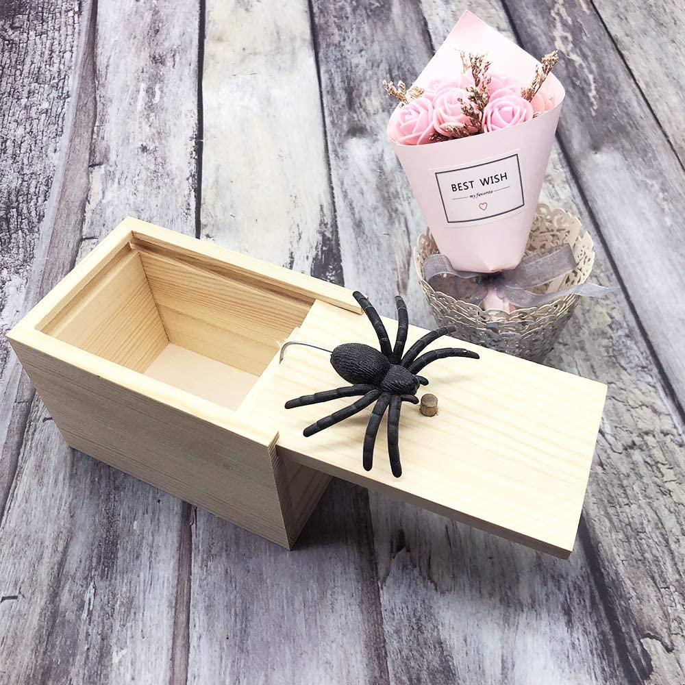 DE Spider Prank Scare Box,Wooden Surprise Box,Handmade Fun Practical Surprise Joke Boxes