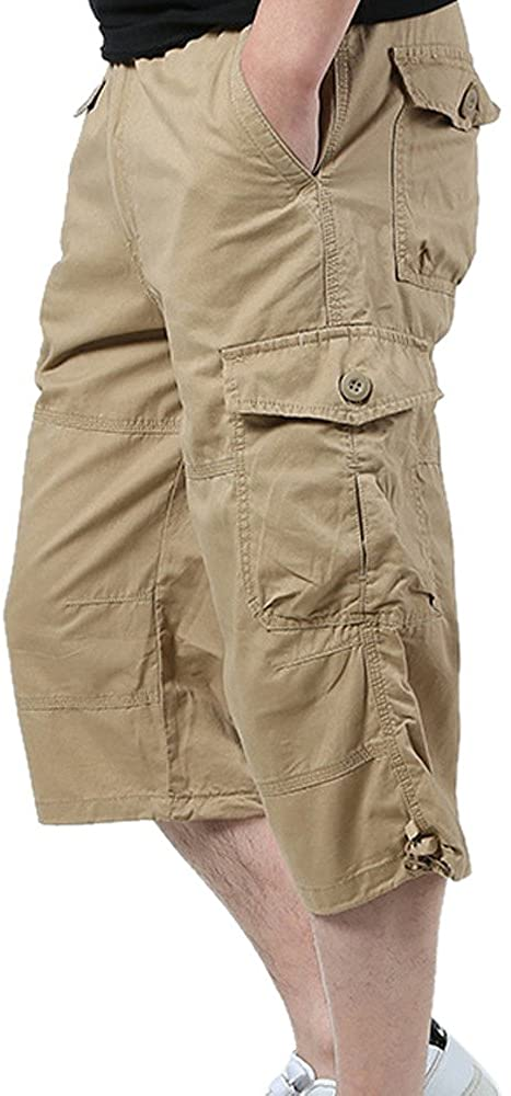 Shorts for Men, F_Gotal Men's Casual Twill Elastic Cargo Shorts Loose Fit Multi-Pocket Sports Pants Shorts Sweatpants