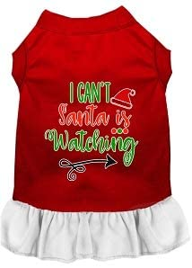 Mirage Pet Product I Can't, Santa is Watching Screen Print Dog Dress Red with White XXL
