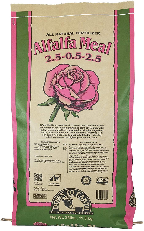 Down To Earth Organic Alfalfa Meal Fertilizer Mix 2.5-0.5-2.5, 25 lb