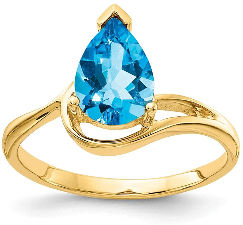 Solid 14k Yellow Gold 9x6mm Pear Blue Topaz Engagement Ring