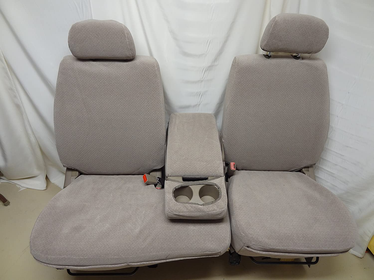 Durafit Seat Covers, Made to fit 2000-2004 Tundra Front 40/60 Split Seats with Fold Down Console. Dark Gray Twill with Gray Velor Inserts.
