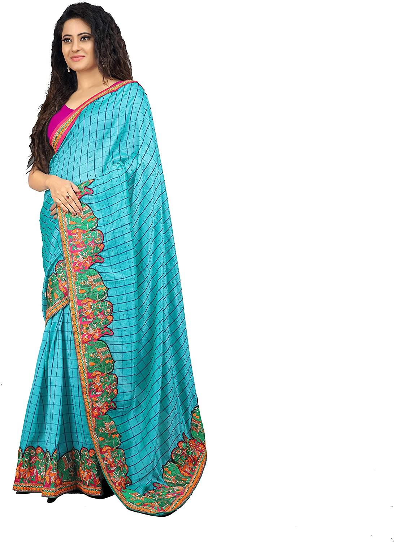 Poison Mode Women's Blue Saree Silk Embroidery Work Sari Indian Wedding Dress with Blouse