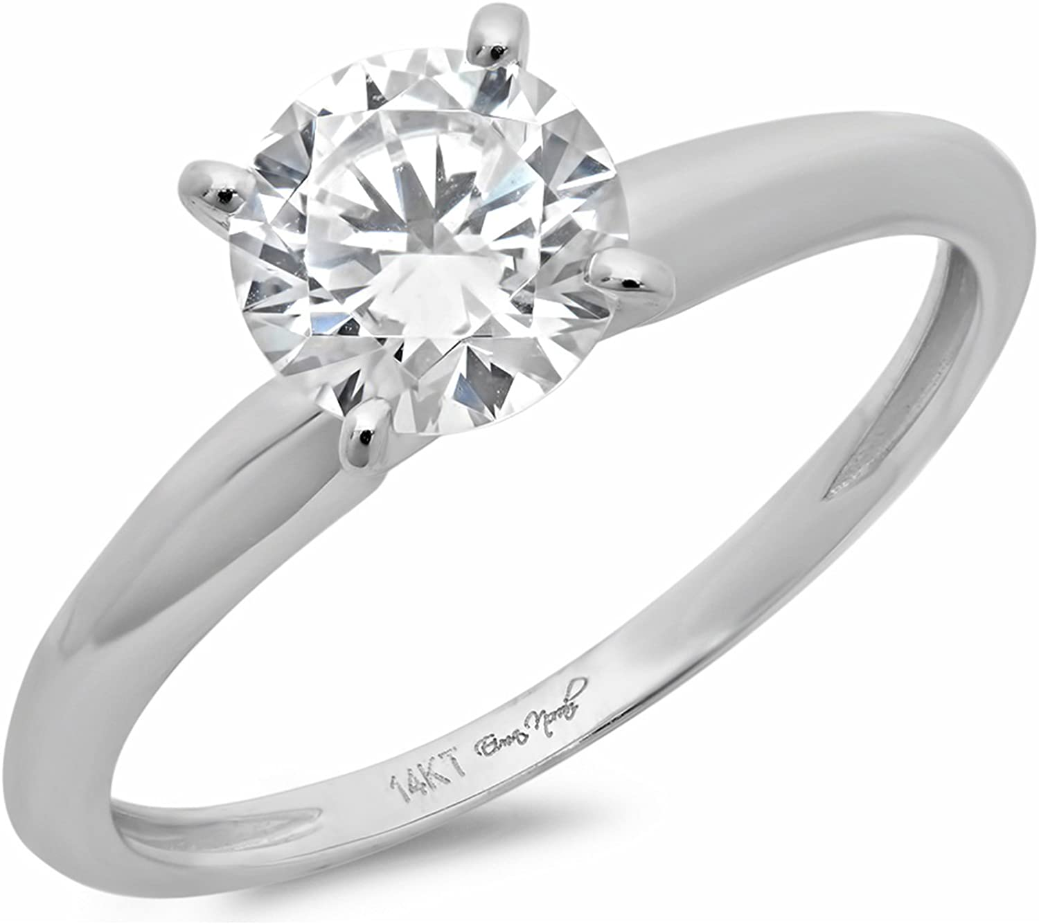 1.50 ct Brilliant Round Cut Solitaire Highest Quality Lab Created White Sapphire Ideal VVS1 D 4-Prong Engagement Wedding Bridal Promise Anniversary Ring in Solid Real 14k White Gold for Women
