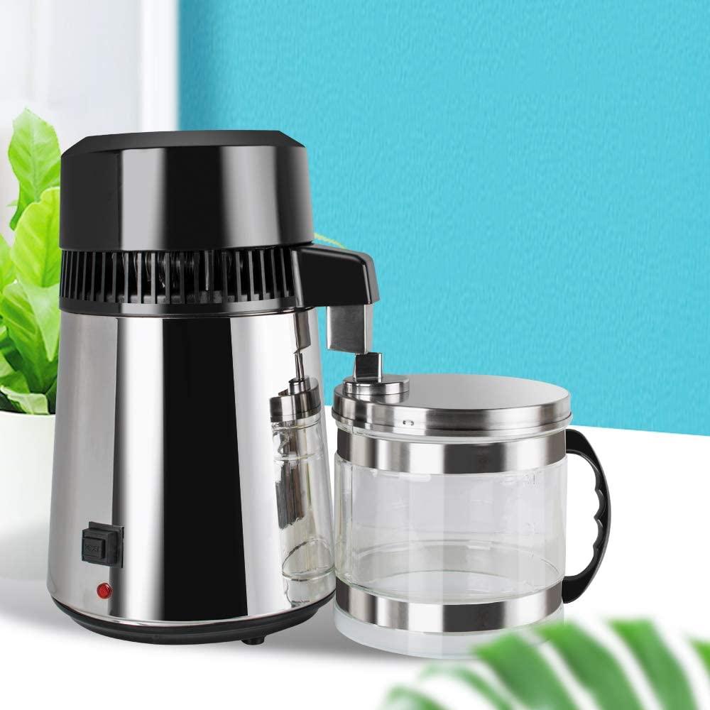 Pevor 4L Stainless Steel Countertop Water Distiller- Internal Pure Water Distiller Water Filter Distilled Water Mchine Glass Collection