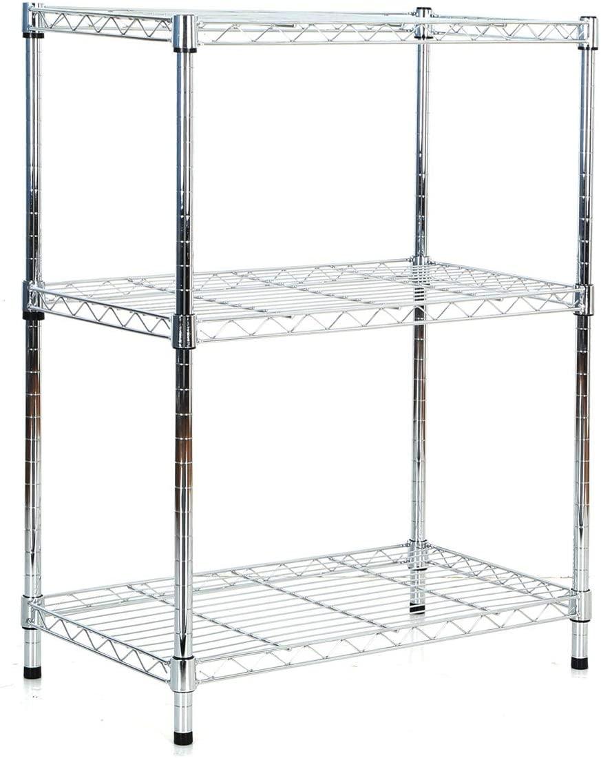 3 Tier Wire Shelving Metal Shelf Storage Rack Durable Organizer Unit for Kitchen Garage Pantry Organization - Chrome, 23