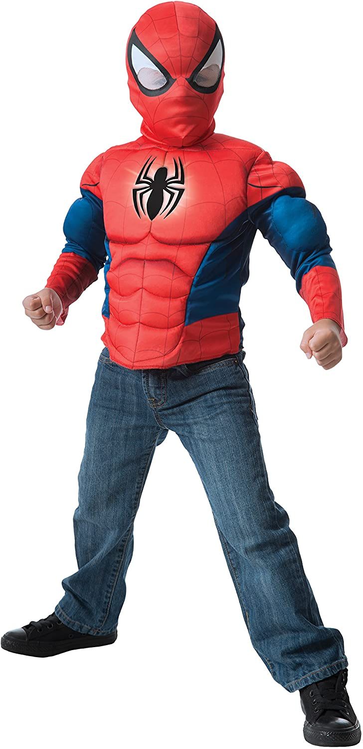 Imagine by Rubie's Spider-Man Deluxe Light Up Muscle Chest Shirt Set Costume