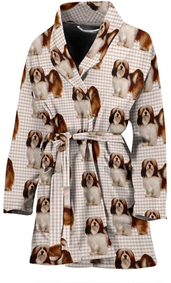 Breedink Lhasa Apso Dog Pattern Print Women's Bath Robe