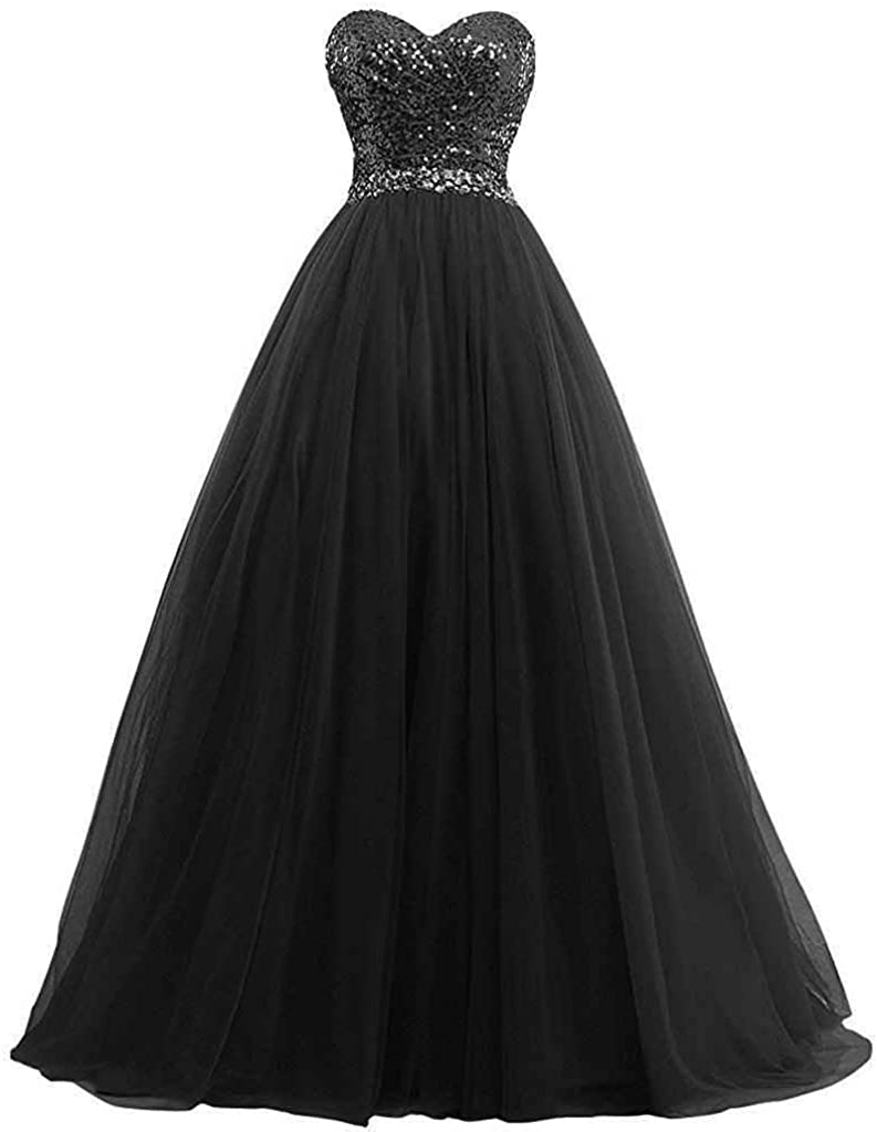 LastBridal Women Sequin Top Sweetheart Tulle Prom Bridesmaid Dresses Long Formal Party Gowns LB0113