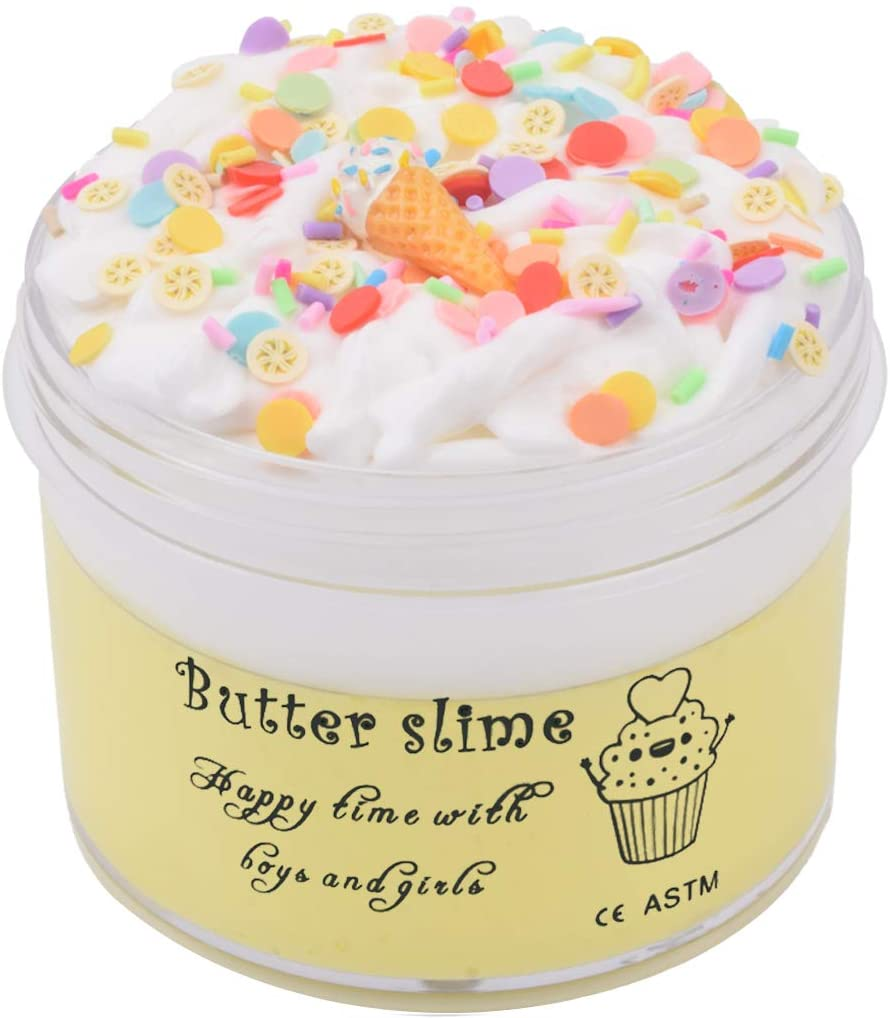 HappyTimeSlime Soft Slime with Charm,Multicolor Butter Slimes and Stretched and Non-Sticky, Stress Relief Toy Scented DIY Putty Sludge Toy for Girls and Boys(7oz) 200ML (Yellow+White)
