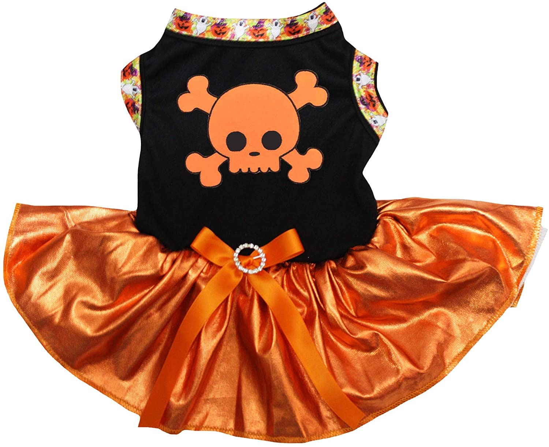 Petitebella Orange Crossbone Black Shirt Bling Orange Tutu Puppy Dog Dress
