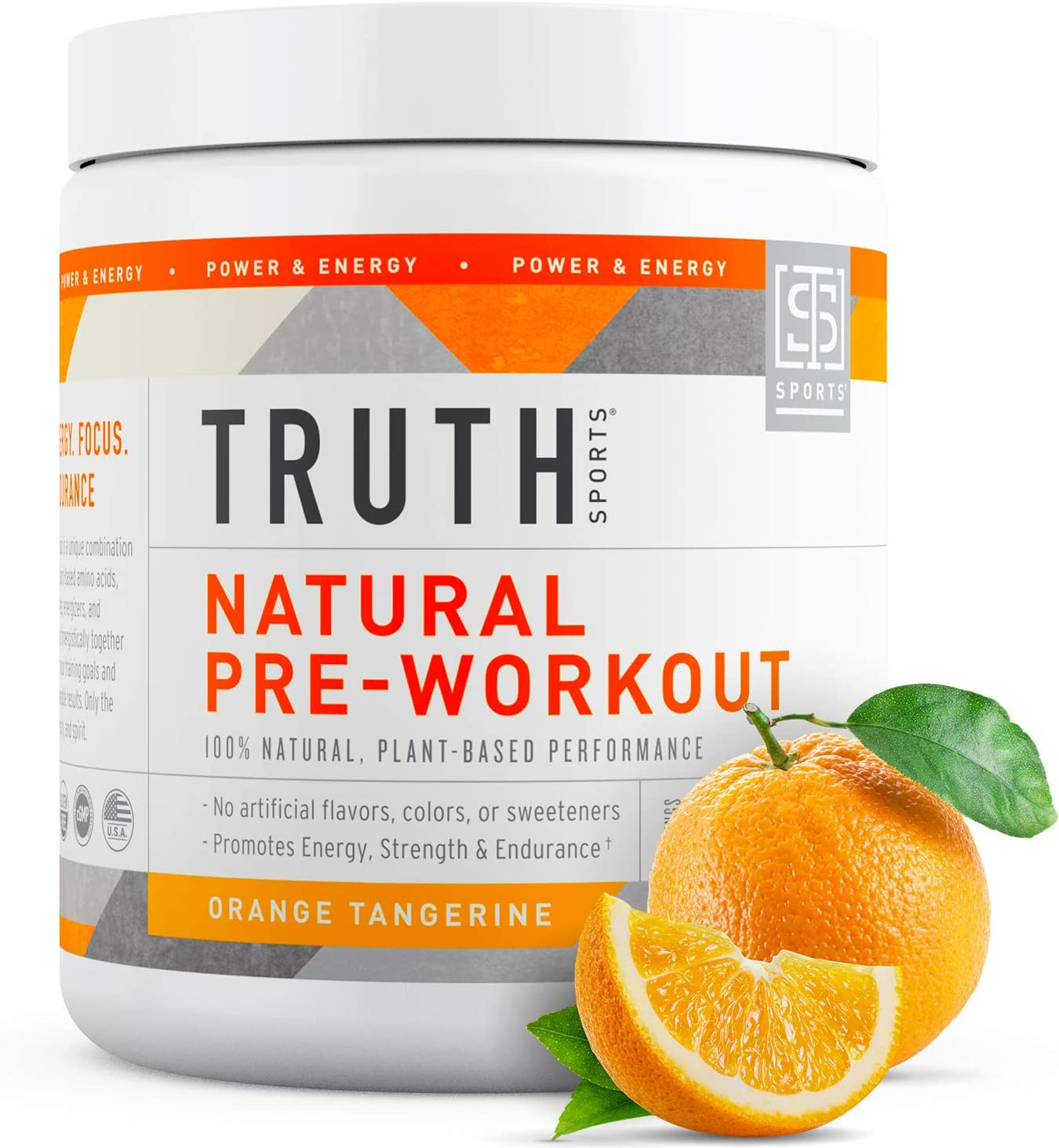 Natural PreWorkout Powder- Preworkout for Men & Women - Plant Based, Keto & Vegan Friendly - Energy, Focus & Performance - Truth Nutrition (30 Servings) (Orange Tangerine)