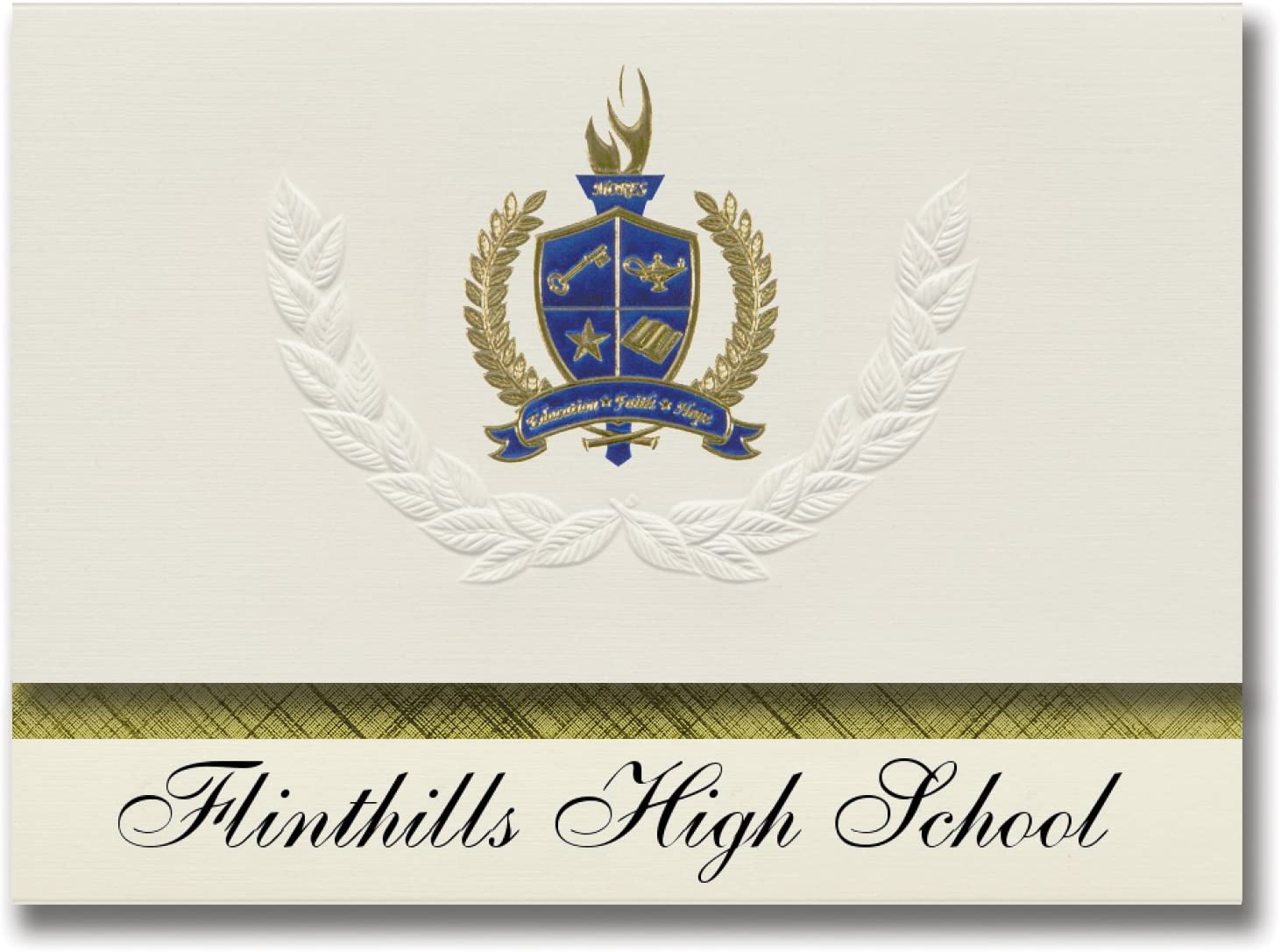 Signature Announcements Flinthills High School (Rosalia, KS) Graduation Announcements, Presidential style, Elite package of 25 with Gold & Blue Metallic Foil seal
