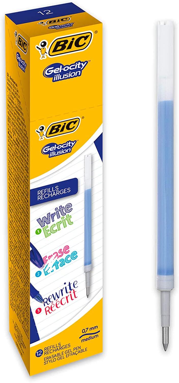 BIC 944097 Gel-ocity Illusion Erasable Gel Pen Refills - Blue (Box of 12)