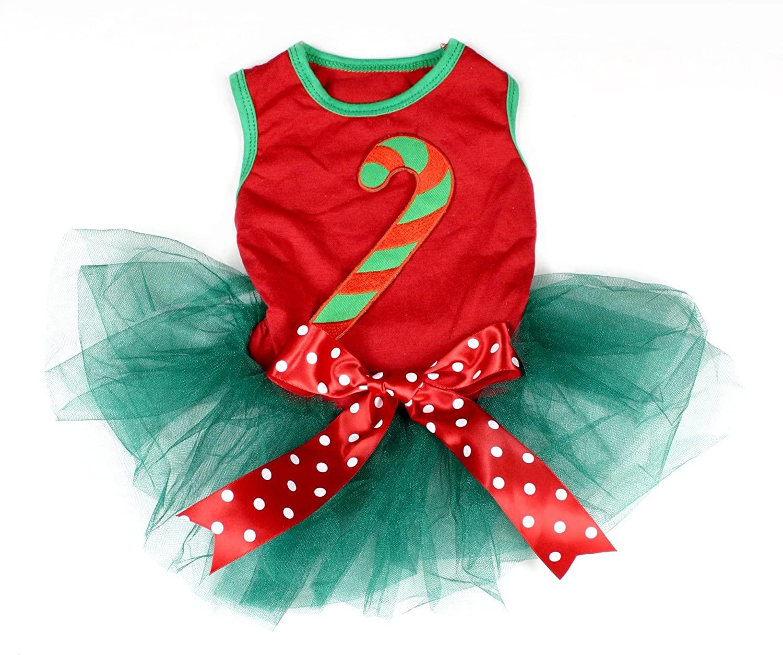 Petitebella Candy Stick Red Shirt Teal Green Tutu Puppy Dog Dress