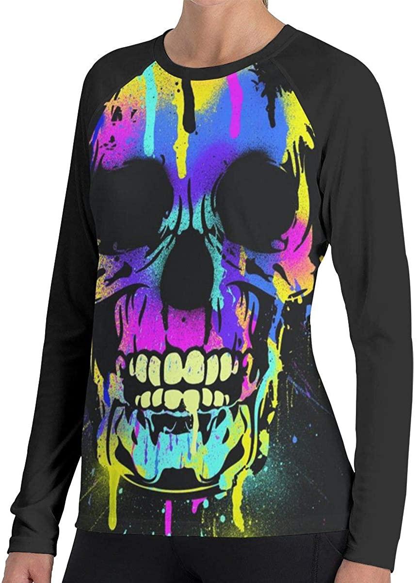 Fengyaojianzhu Women's Skull Comfort Long Sleeve Tops Sweatshirt Tee T-Shirt