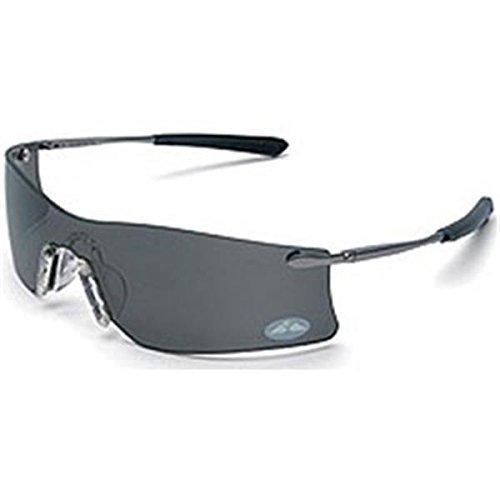 Crews Gray Safety Glasses, Anti-Fog, Scratch-Resistant, Frameless
