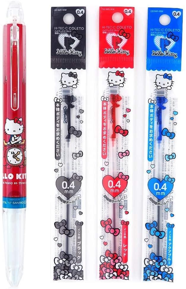 Sanrio Hello Kitty Pilot Hi Tec C Coleto 3 Color Body Component, 3 Color Ink Refills, 0.4mm [ S4641850 ]