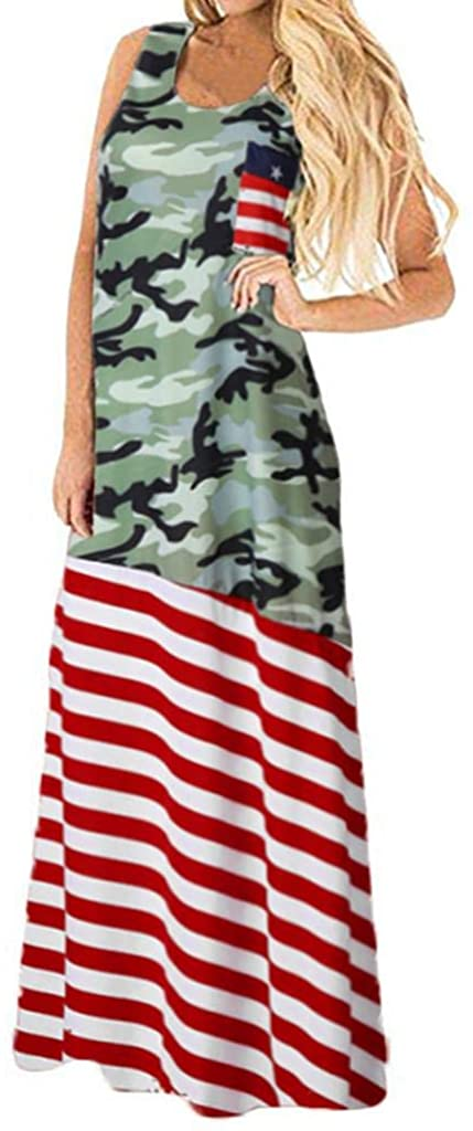 terbklf Evening Party Dress, Women Vintage US Flag Camouflage Printed Bodycon Sleeveless Casual Maxi Prom Swing Dress