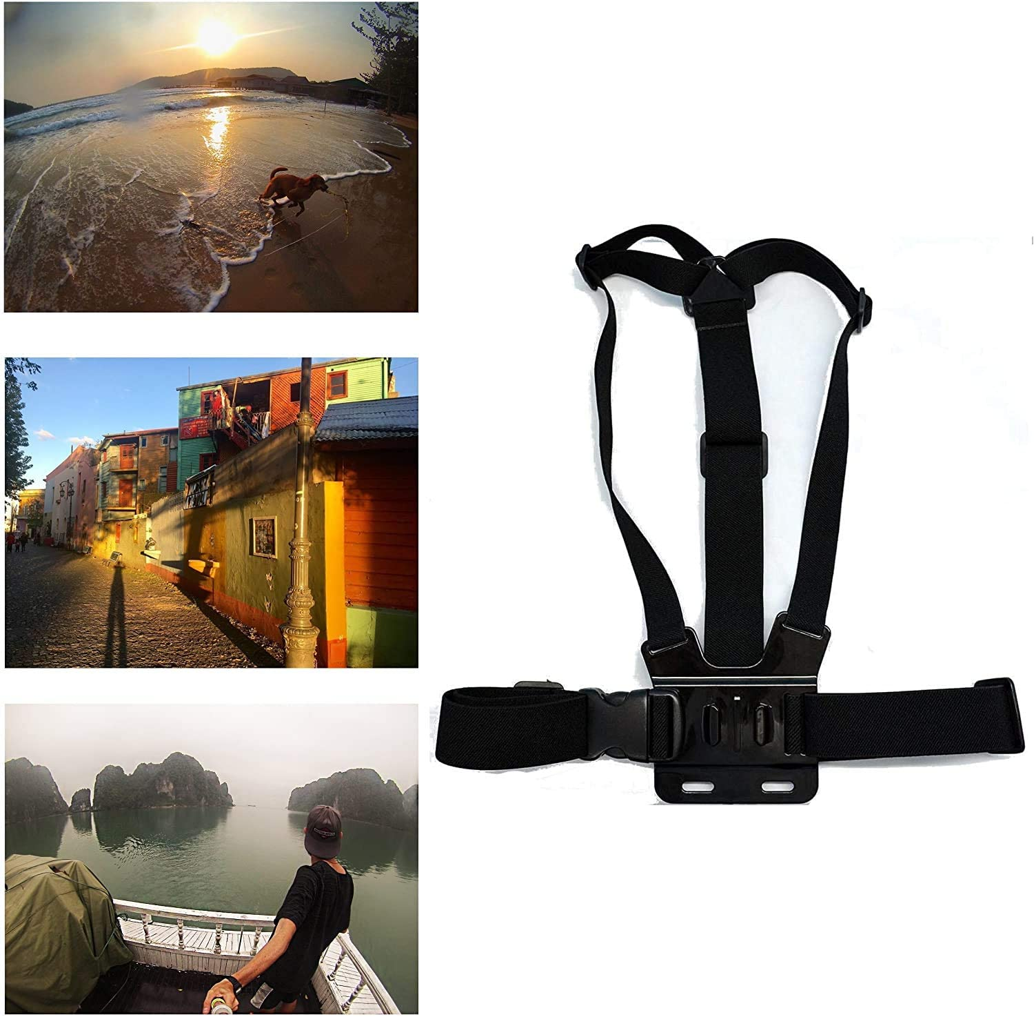 Navitech Adjustable Elastic Body Harness Strap = Compatible with The GoExtreme Enduro Black Action Camera