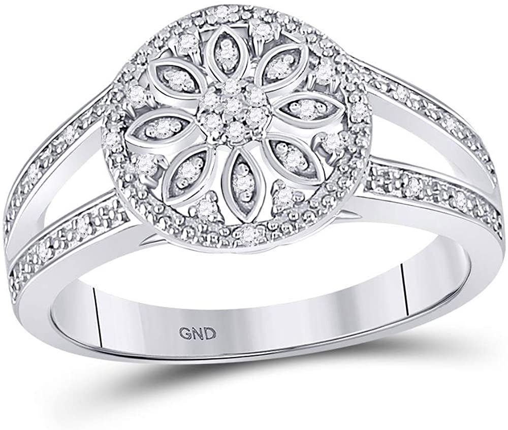 The Diamond Deal Sterling Silver Womens Round Diamond Flower Cluster Petals Milgrain Ring 1/10 Cttw