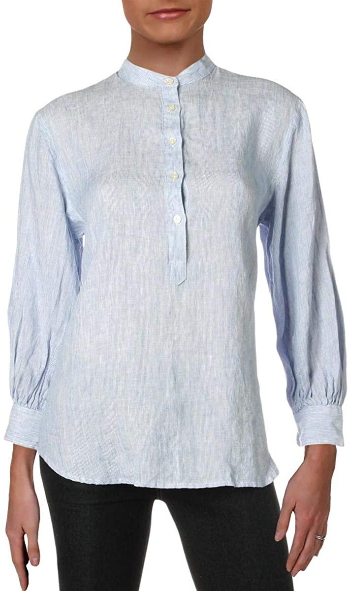 Ralph Lauren Womens Blue Pinstripe Long Sleeve Collared Button Up Top Size M