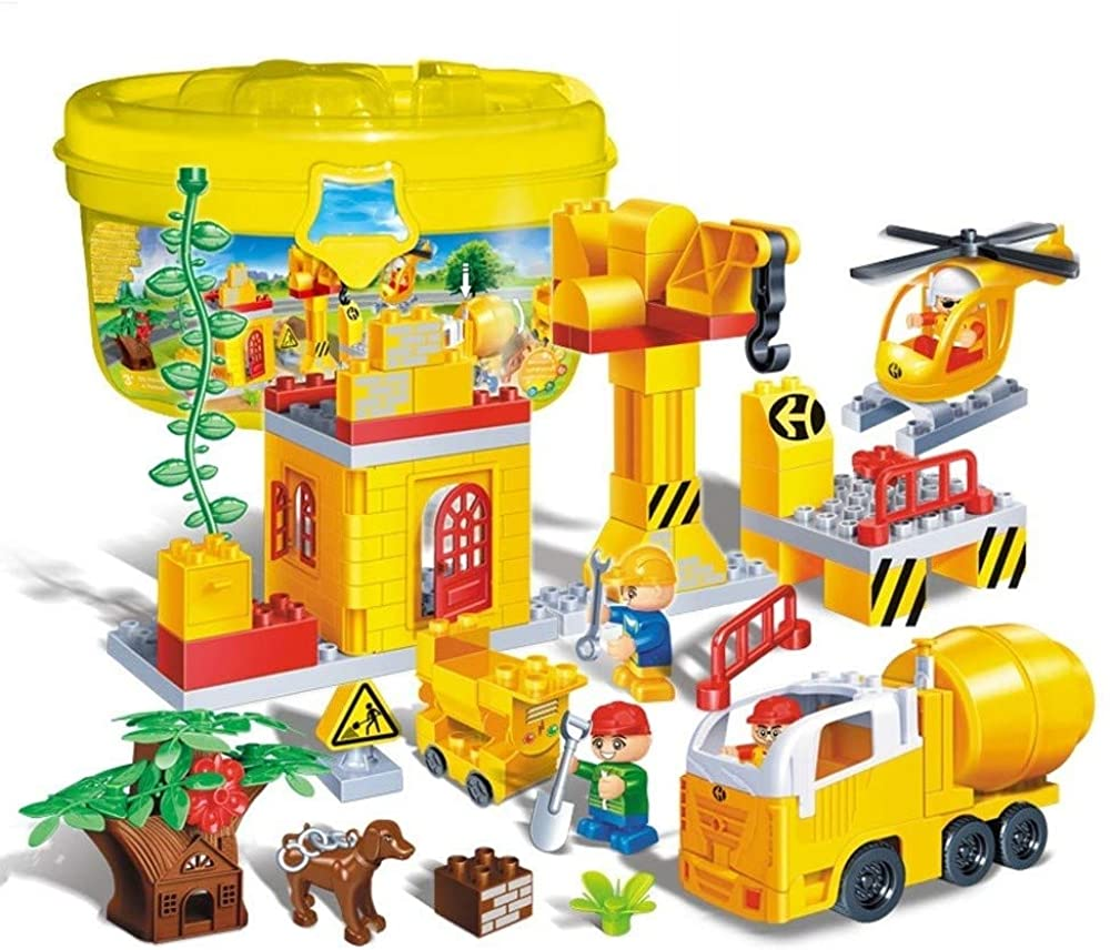 TCAR Kindergarten Educational Educational Building Blocks Toys Engineering Series Construction Site Boy Puzzle Assembling Children's Toy Large Granular Plastic Building Blocks, Over 3 Years Old