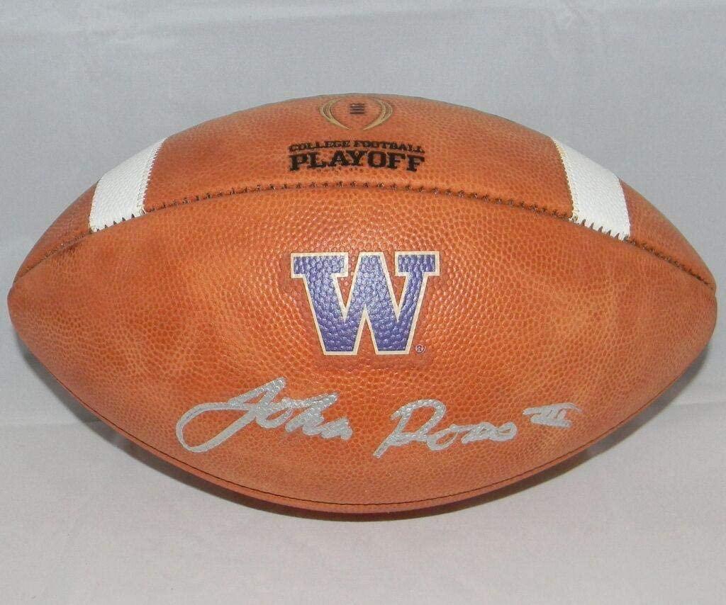 John Ross Signed Autographed Washington Huskies Wilson Ncaa Playoff Football - JSA Certified - Autographed College Footballs