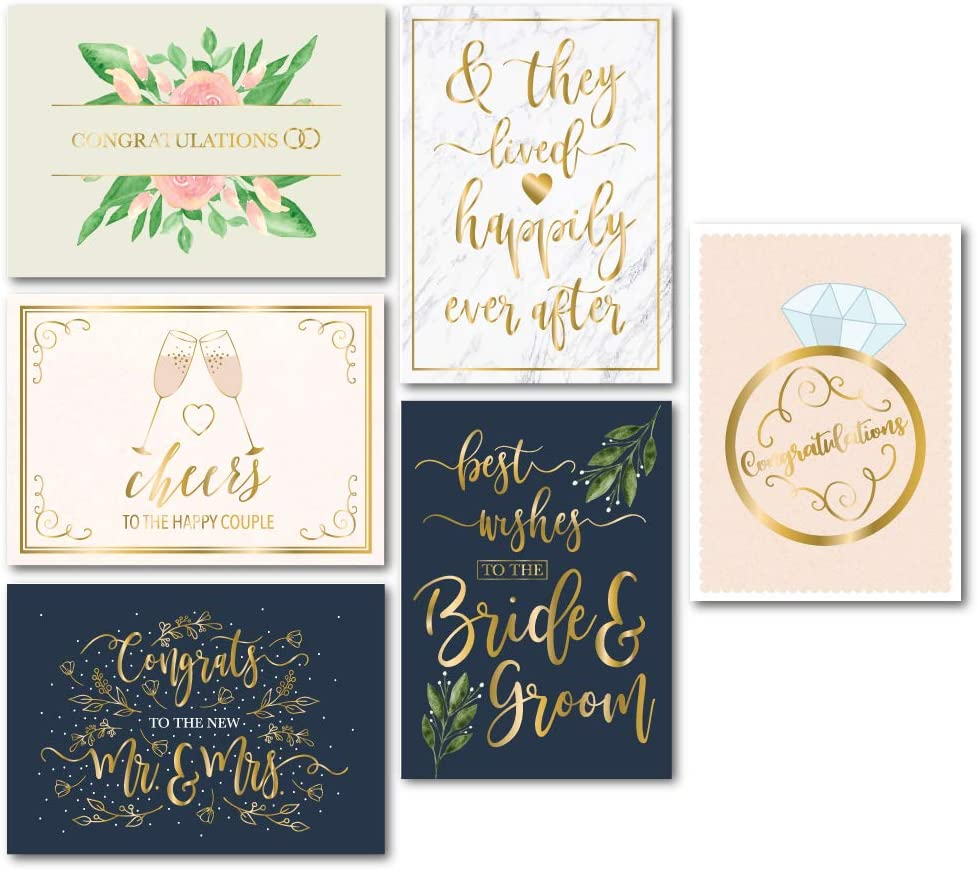 Wedding Greeting Cards - 24-Pack Wedding Congratulations Cards Bulk, Gold Foil Floral Design, Envelopes Included, Perfect for Wedding, Engagement, Newlywed, Bride and Groom, Mr. and Mrs, 5 x 7 Inches
