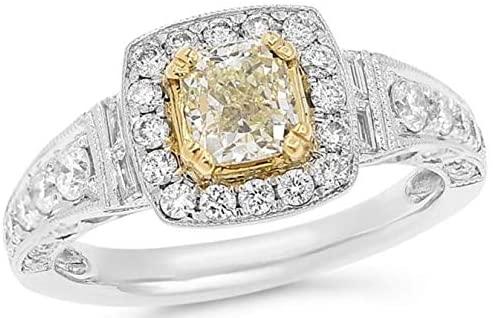 1.72CT WHITE & FANCY YELLOW DIAMOND 18KT 2 TONE GOLD CUSHION ENGAGEMENT RING