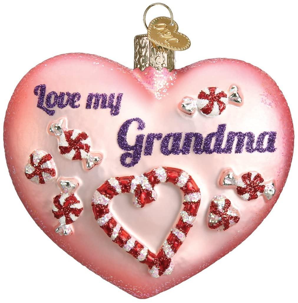 Old World Christmas Grandparents Glass Blown Ornaments for Christmas Tree Grandma Heart