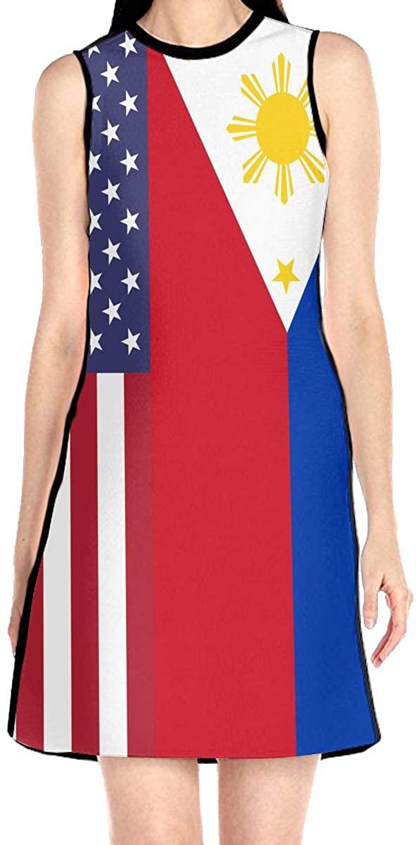 VJH-YY US Philippines Flag Women's Sleeveless Dress Casual Slim A-Line Dress Tank Dresses