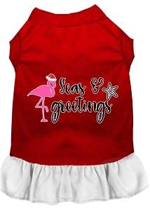Mirage Pet Product Seas and Greetings Screen Print Dog Dress Red with White XL
