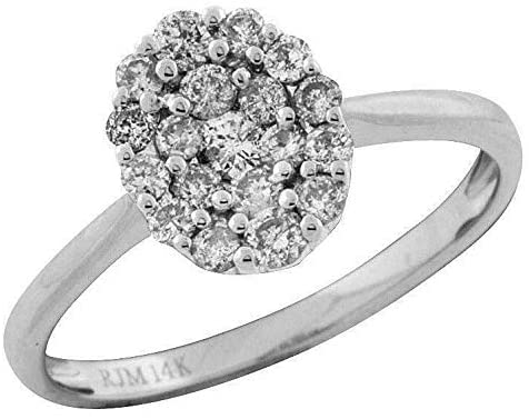 .50CT DIAMOND 14KT WHITE GOLD 3D CLASSIC OVAL CLUSTER FLOWER FUN RING
