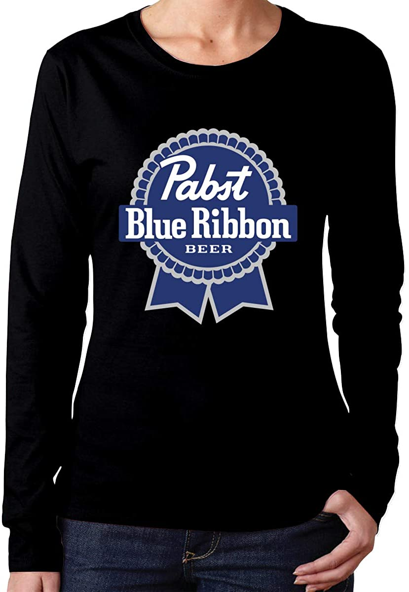 Women's Pabst Blue Ribbon Beer Logo Long Sleeve T-Shirt Casual Crew Neck Tee