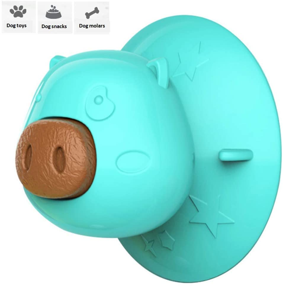 RYJ Dog Chew Toy, Dog Lick Molar Toy, Dog bite Toy with Suction Cup, with Interactive Chewing, Including 3 Replaceable Dog Biscuits, Natural Gum.