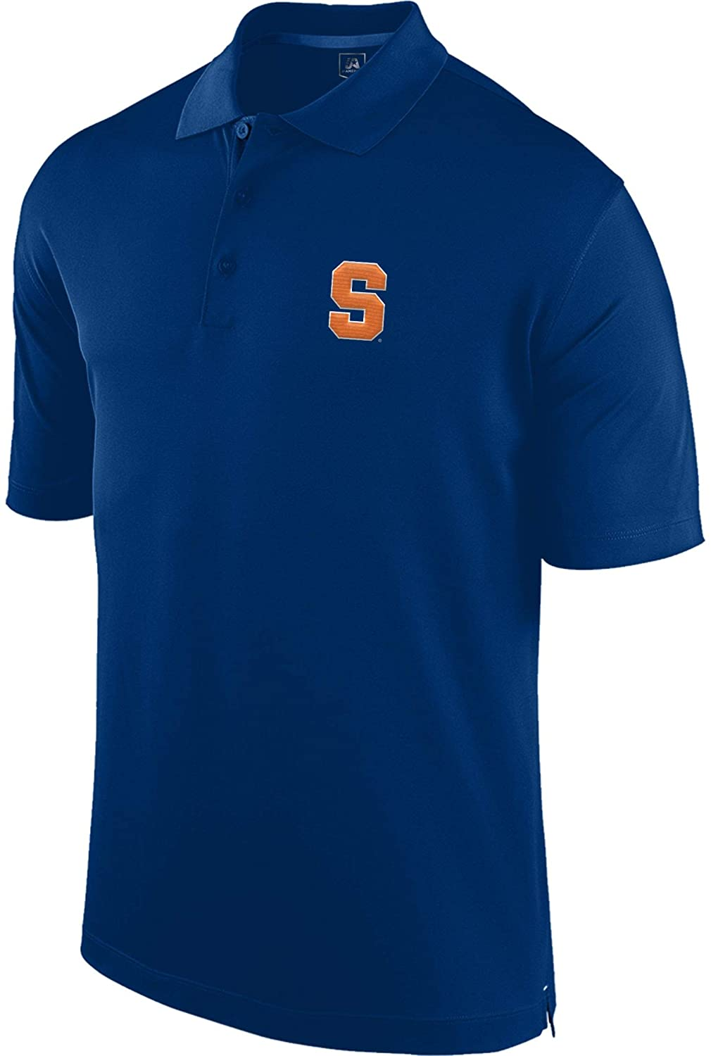 J.America Mens Syracuse Orangemen Performance Polyester Short Sleeve NCAA Stance Polo - Blue (Medium)