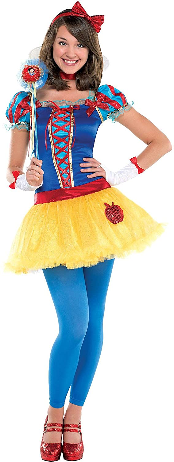 Costumes USA Snow White Costume for Teen Girls, Size Medium, Includes a Dress, Leggings, a Choker, a Headband, and More