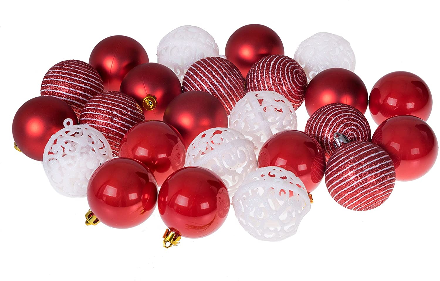 Clever Creations Christmas Ornament Ball Set Red and White | 24 Pack | Festive Holiday Décor | Classic Design | Glitter, Gloss and Swirled Texture | Shatter Resistant | Hangers Included | 55mm