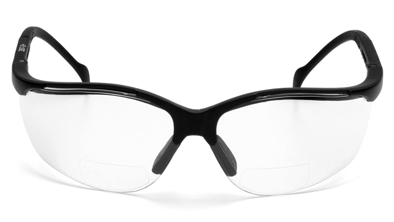 Pyramex V2 Readers Safety Eyewear, Clear +2.0 Lens With Black Frame
