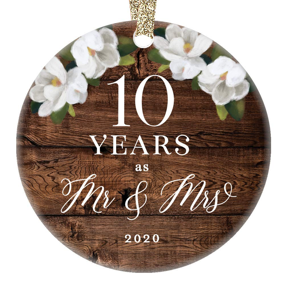 2020 Christmas Ornament Mr. & Mrs. 10th Tenth Wedding Anniversary Gift Porcelain Keepsake Celebrate Couple's Ten 10 Year Marriage Rustic Floral 3